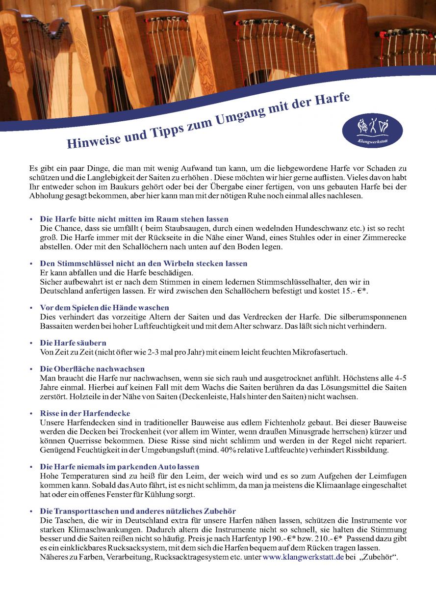 Hinweise und Tipps zum Umgang mit der Harfe - Klangwerkstatt Markt Wald